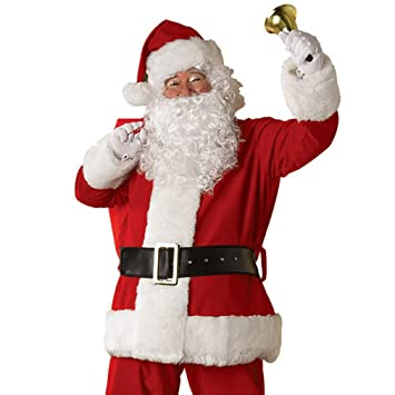 08b6237be Father Christmas Wig and Beard Santa Claus and Beard Moustache Set Men's  Pure White Curly Beard...