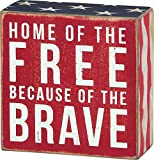 Primitives by Kathy Patriotic Box Sign, 4 x 4, Home of The Free