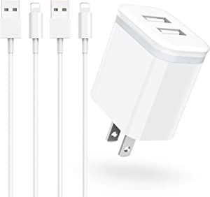 Phone Charger 6ft Cable with Wall Plug Pack of 3, DECIPA Dual USB Wall Adapter Block Cube with Charging Cord Replacement for iPhone Xs Xs Max XR X 8 7 6 6S Plus 11 Pro SE 5S