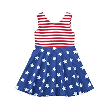3623041d75abc Amazon.com: S.H.EE Newborn Toddler Baby Girls Dress Independence Day 4th of  July Sleeveless Stars and Stripe Print Patriotic Clothes: Clothing