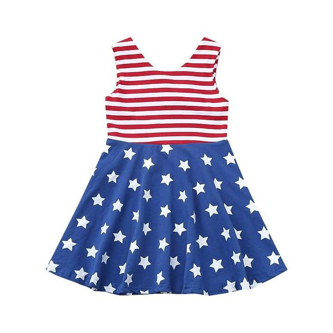 HANANei Infant Baby Girl (0-3T) Sleeveless Summer Rainbow Striped Print Tops+Shorts Outfits Set