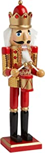 Northeast Home Goods Wooden Christmas Nutcracker Decor, 15-Inch Red Gold Sequin Drummer King