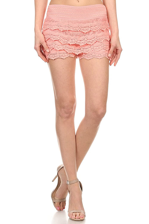 2ND DATE Women's Laced Layered Crochet Shorts