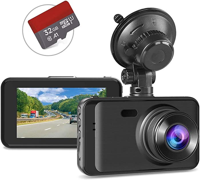 "Dash Cam with SD Card Included, Full HD 1080P Dashcams for Cars Dash Camera in Car Dash Cam with Night Vision, 170°Wide Angle 3"" IPS Screen WDR Loop Recording G-sensor Motion Detection Parking Monitor"