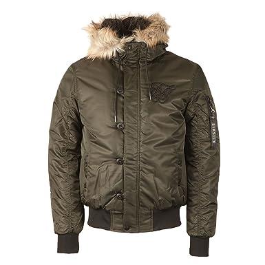 0888f6db9 SikSilk - Everest Hooded Bomber, Khaki: Amazon.co.uk: Clothing