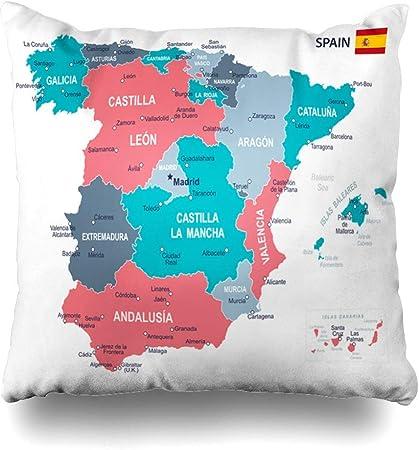Gobierno Azul Aragón España Mapa Gris Ubicaciones Islas Baleares Barcelona Provincias Vascas Diseño Sofá Cama de Coche Funda de Almohada Decorativa Cuadrado 18 Pulgadas: Amazon.es: Hogar