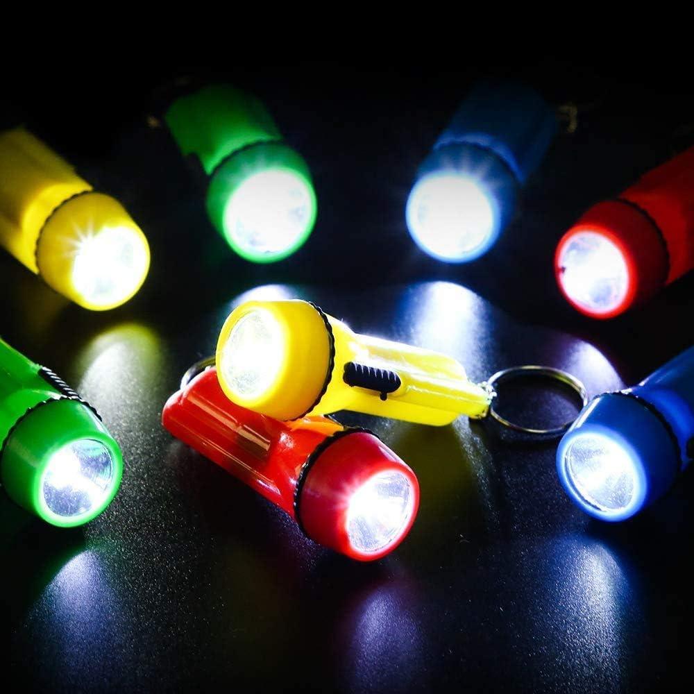 10PCS//Random Mini LED Light Torch Camping FlashLight Ring Chain Key Lamp Torches