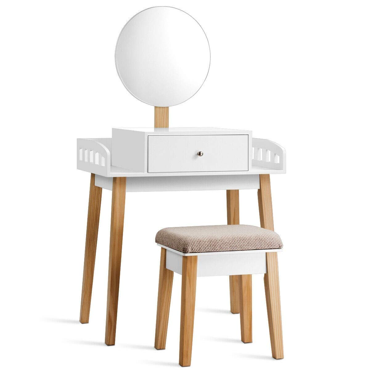 USA_Best_Seller Modern Luxury Nice Compact Wooden Makeup Dressing Mirror Table Set with 1 Drawer Durable Bedroom Nice Luxury