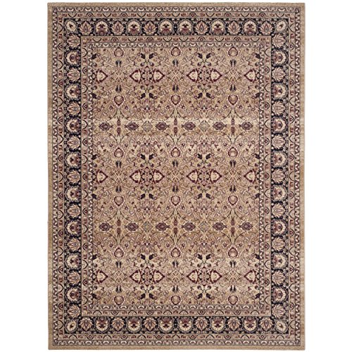 Lavar Cream (Safavieh Lavar Kerman Collection LVK620A Traditional Cream and Navy Cotton Area Rug (9' x 12') (9' x 12'))