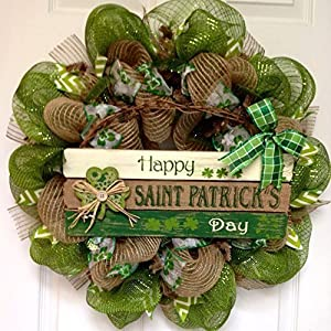 Happy St Patricks Day Handmade Deco Mesh Wreath With Button Shamrock 34