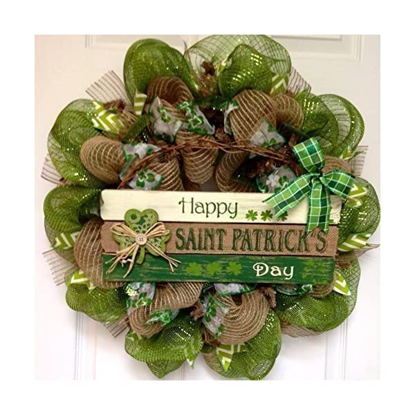 Happy St Patricks Day Handmade Deco Mesh Wreath With Button Shamrock