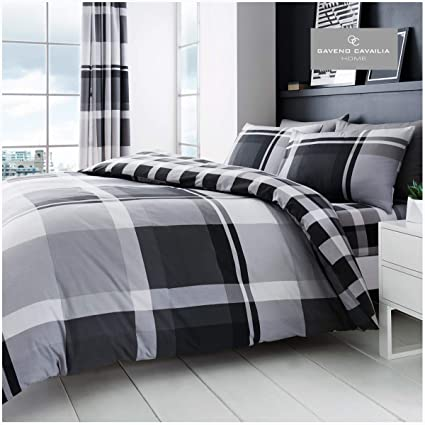 Double Polyester-Cotton Blue Gaveno Cavailia Luxury DENIM CHECK Bed Set with Duvet Cover and Pillow Case