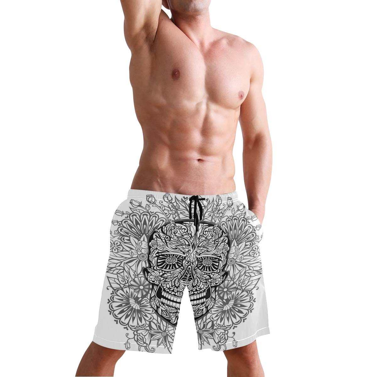 COVASA Mens Summer ShortsGothic Pattern with White Lily and Skulls