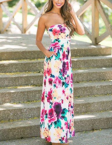 Minetom Mujeres Casual Elegante Sin Tirantes Vestidos Verano Largo de Envuelto Pecho Con Florales Impresa Vestido Coctel Fiesta Noche Y Playa Flor A