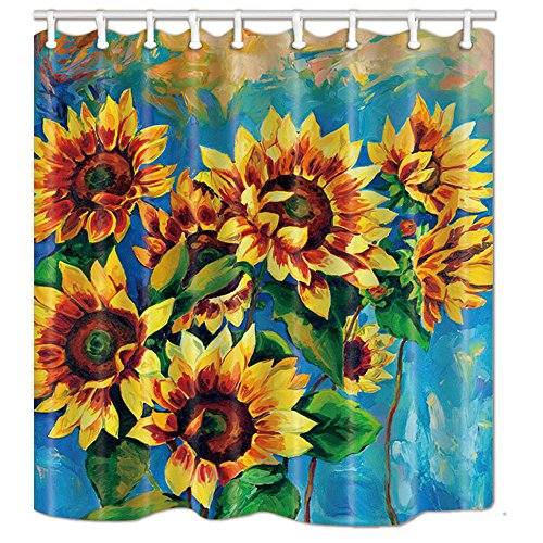 (NYMB Oil Painting Sunflower Shower Curtain in Bath, Spring Flower Art Print, Polyester Fabric Bathroom Fantastic Decorations Bath Curtains Hooks Included, 69X70in)