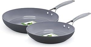 GreenPan CC000044-001 Paris Ceramic Non-Stick 10 Inch and 12 Inch Open Frypan Set - Gray