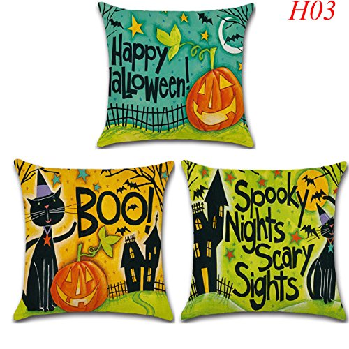 3 Pack Halloween Pillow Case Moon Bat Pumpkin Pillow Cover Cushion Throw Pillowcase Baby Home Decorations Cotton Linen Square Burlap Decorative by Raleighsee (H03)