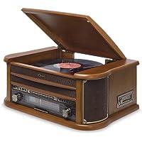 Vitrola com CD, K7, FM, USB e Bluetooth, Bivolt Raveo Ópera BT 1 Portas USB, Madeira