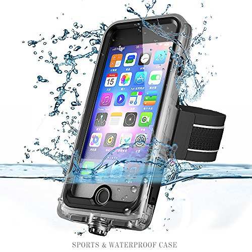 iPhone 8 Plus and iPhone 7 Plus Sports Waterproof Case with Armband by iyesku, IP68 Military Standard, Dustproof, Shockproof, Full Body Underwater (iPhone 7/8 Plus - (Black Armband Carrying Case)