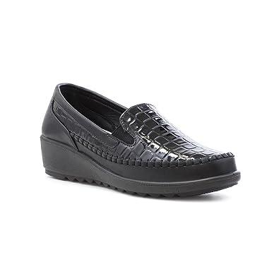 Cushion Walk Schwarzer Einfacher schließender Komfort-Schuh für Männer durch Größe 8 UK/42 EU - Schwarz rRFCp