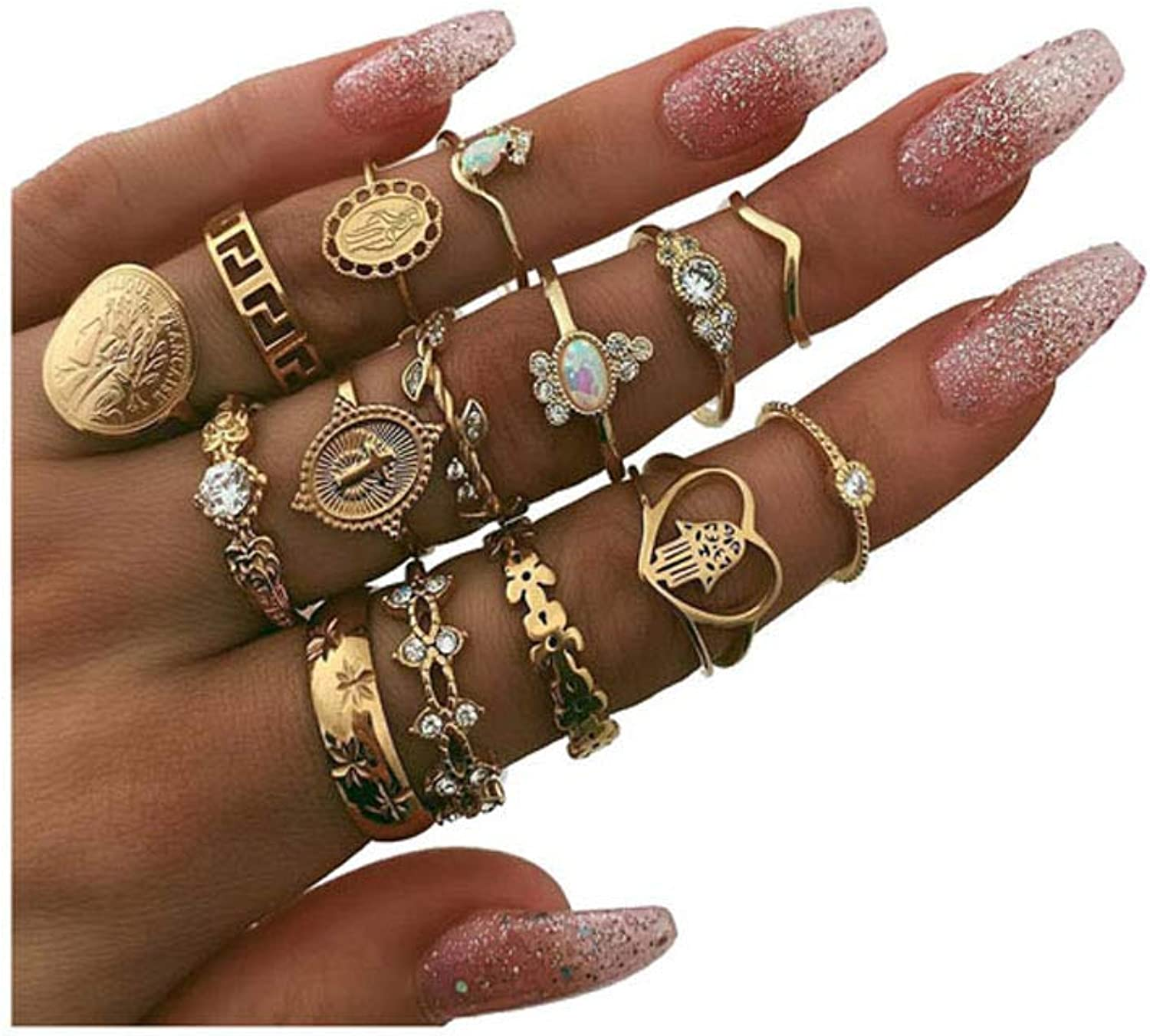 10-15PCS Bohemian Crystal Joint Midi Knuckle Stacking Rings, Retro Gem Finger Rings Sets Comfort Fit Size 5 to 9