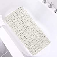 SONGZIMING Bathtub Mat Non Slip Pebble Bath Shower Mat with Drain Holes, Suction Cups Mat for Tub (16″ W x 35″ L,Beige)