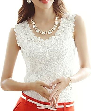 Mujeres Encaje Floral Sin Mangas Crochet Knit Chaleco Tank Top Camisa Blusa: Amazon.es: Ropa y accesorios