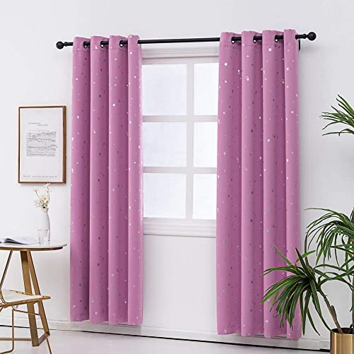 KEKO-TEX Star Blackout Curtains 2 Panels with Grommet for Kids Room,Thermal Insulated with Printed Night Sky Twinkle Star Darkening Drapes for Bedroom Fuchsia Pink 52x84in