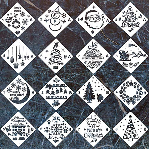 16 Pack Christmas Stencils Bullet Journal Stencil Template Set with Santa Claus,Snowman,Christmas Tree,Snowflakes,Reindeers Pattern for Painting on Wood,Airbrush and Walls Art (5.3x5.3 inch) ()