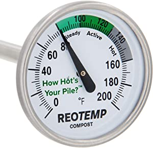 "REOTEMP Backyard Compost Thermometer - 20"" Stem, with PDF Composting Guide (0-200 Fahrenheit)"