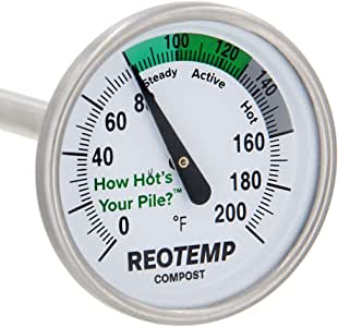REOTEMP Backyard Compost Thermometer - 20 Inch Stem, with PDF Composting Guide (Fahrenheit)