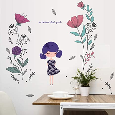 Wall Stickers Wall Stickers Cute Flower Girl Patterns