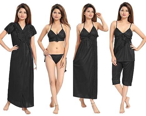 c27cf634d7 REPOSEY Women s Satin Nightwear Set of 6 Pcs Nighty