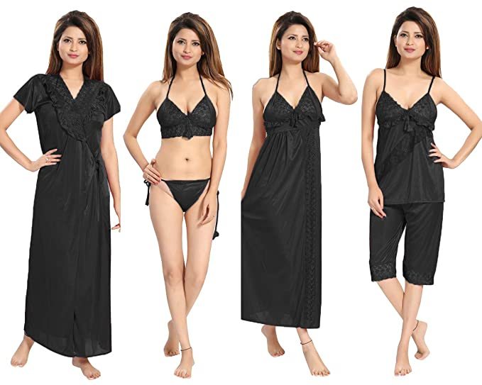 e8a8a5ea8ea53 REPOSEY Women's Satin Nightwear Set of 6 Pcs Nighty, Wrap Gown, Top, Capri,  Bra & Thong (Size - S-M-L) (Pack of 6)