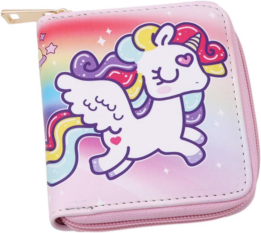 ODN Pu cuir fermeture /éclair porte-monnaie licorne R/êver pour filles Pink
