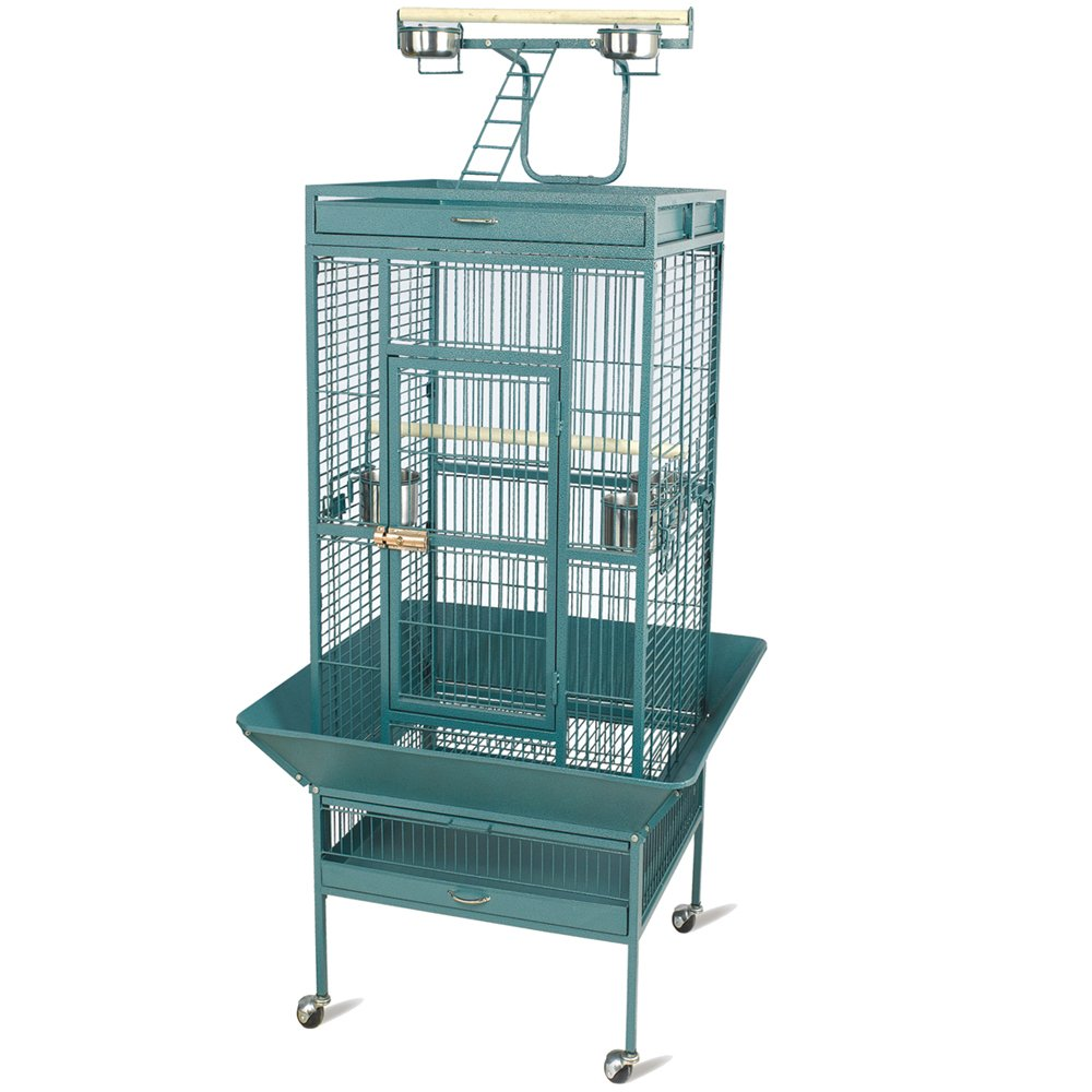 Topeakmart Wrought Iron Bird Cage Play Top Pet House Cockatiel Cockatoo Cage (Green)