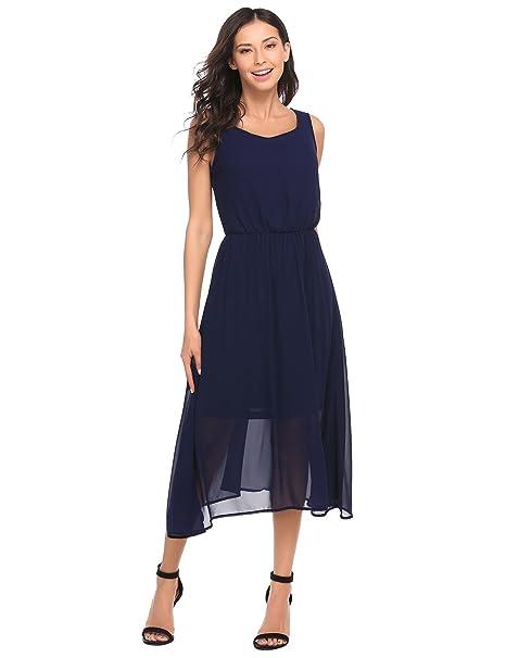 Größe 40 cafa2 81316 Chigant Damen Elegante Chiffon Kleider Sommer Midikleider Abendkleider  Brautjungfernkleider Blau Weiß Schwarz Lavendel