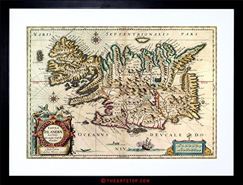 MAP ANTIQUE 1630 BLAEU ICELAND FRAMED PRINT (Blaeu Antique Map)