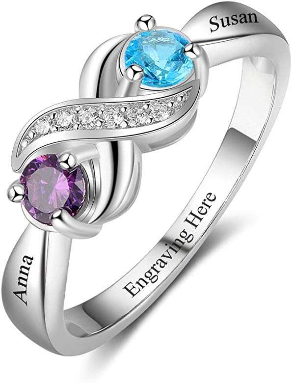 """925 Sterling Silver Personalized CZ Birthstone /& Engraved /""""Mom/"""" Infinity Ring"""