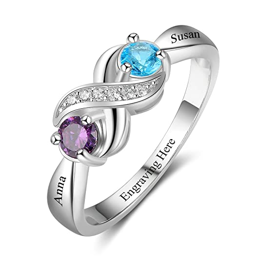 Review Love Jewelry Personalized Infinity Mothers Ring with 2 Round Simulated Birthstones Engagement Promise Rings for Women