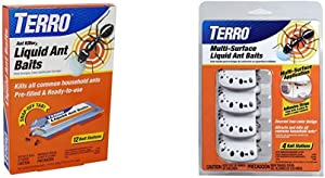 Terro T300B Liquid Ant Bait Ant Killer, 12 Bait Stations & t334 Adhesive Strips for Discreet Multi-Surface Liquid Ant Baits, 1 Pack, Orange