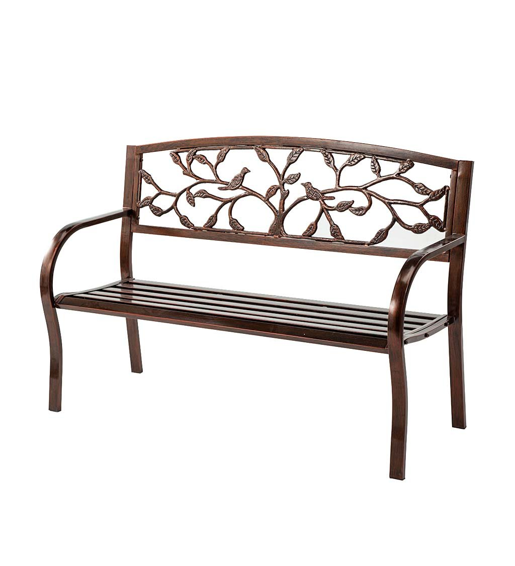Tree of Life Metal Bench - 50 W x 21 D x 33 H Wind & Weather