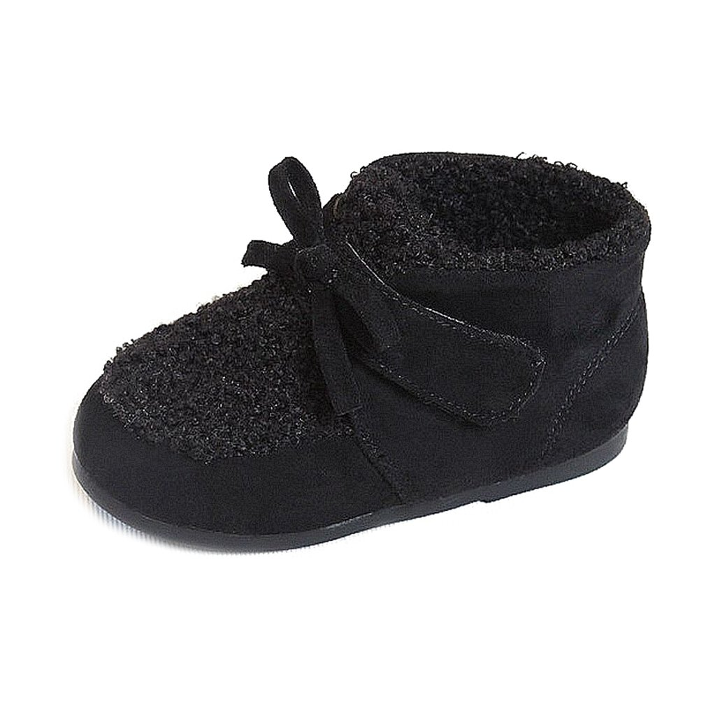 CYBLING Toddler Girls Faux Fur Lined Winter Snow Boots Kids Bowknot Short Ankle Booties