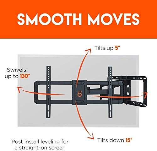 ECHOGEAR Full Motion Articulating TV Wall Mount Bracket for 42 -85 TVs – Easy to Install On 16 , 18 or 24 Studs and Features Smooth Articulation, Swivel, Tilt – EGLF2