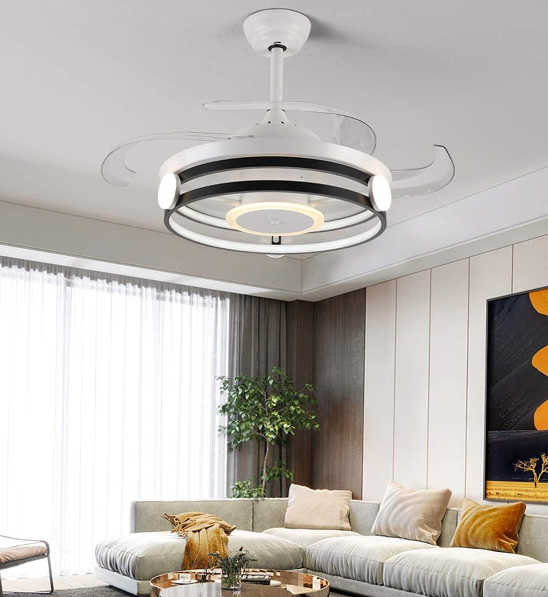 Ventilador de Techo Moderno con Luz, 4 Aspas Retráctiles Lámpara LED Remota de 60 W 3 Cambios de Color 3 Velocidades, Motor Silencioso con Kits de LED Incluidos: Amazon.es: Iluminación