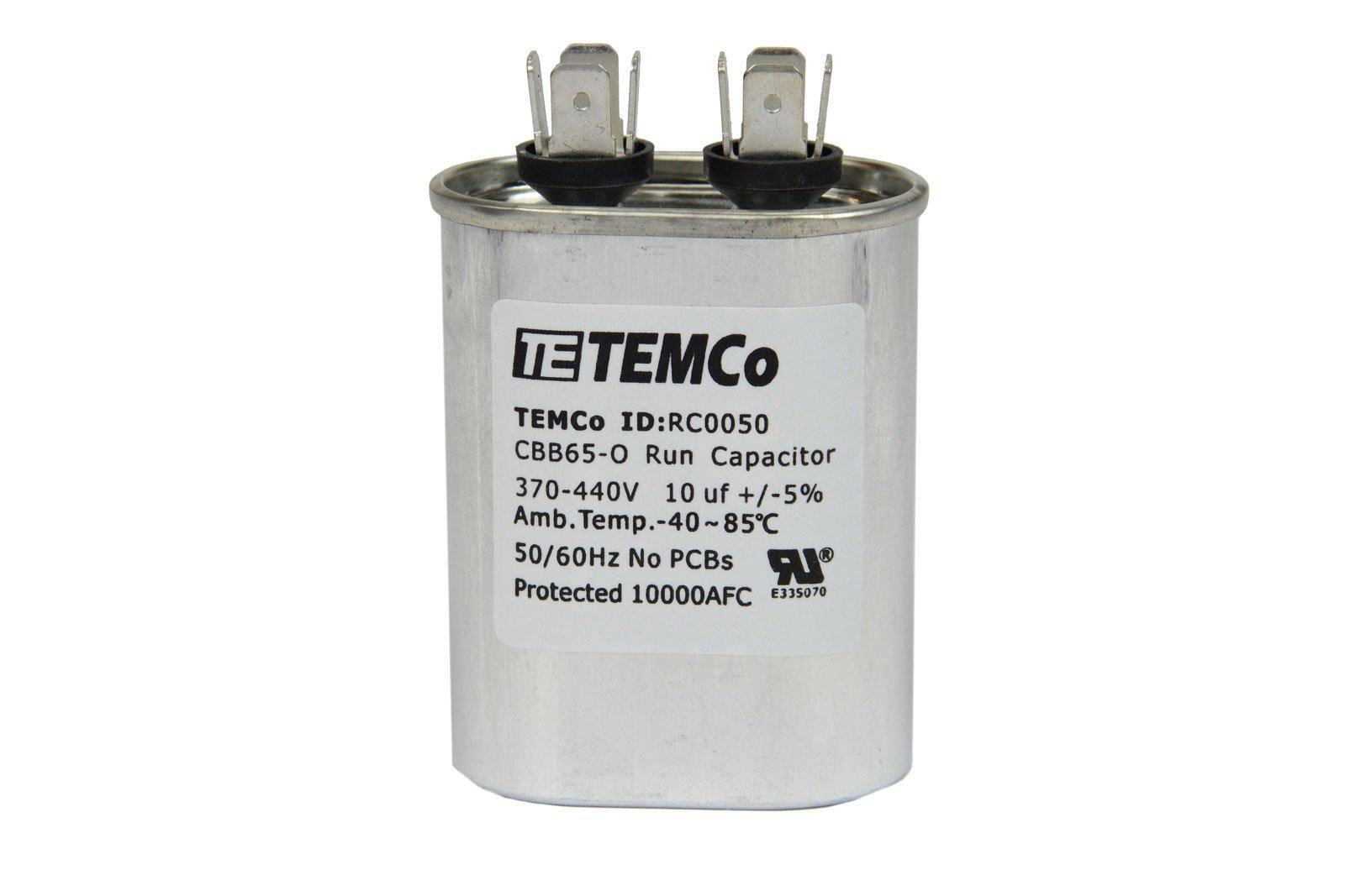 TEMCo 25 LOT Motor Run Capacitor RC0072-10 mfd uf 370/440 V VAC volt 10 uf Oval HVAC TEMCo AC Electric by Temco (Image #3)