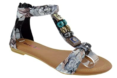 Tribal Womens Floral Beaded Decorated Flat Sandals