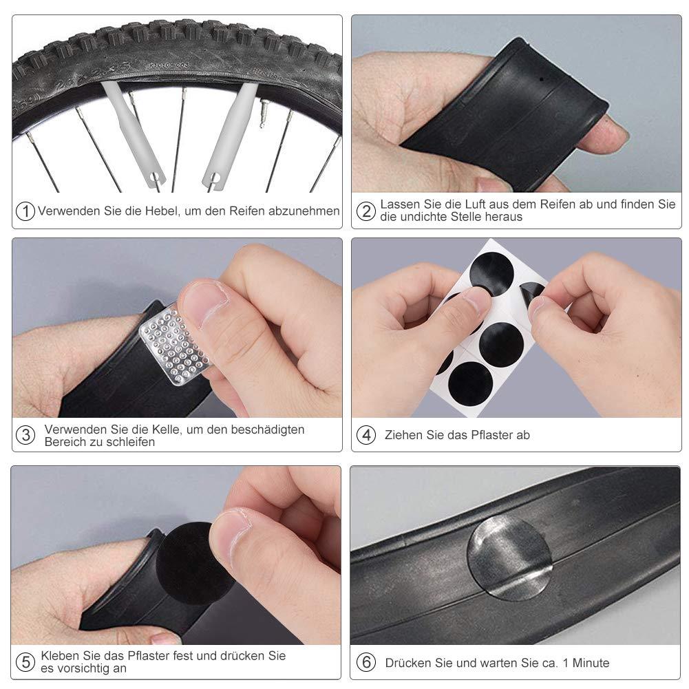 Linkax Fahrrad-Multitool 16 in 1 Werkzeuge f/ür Fahrradreparatur Multifunktionswerkzeug Fahrrad Reparatur Set mit Tasche Metall Rasp Reifenheber Selbstklebendes Fahrradflicken