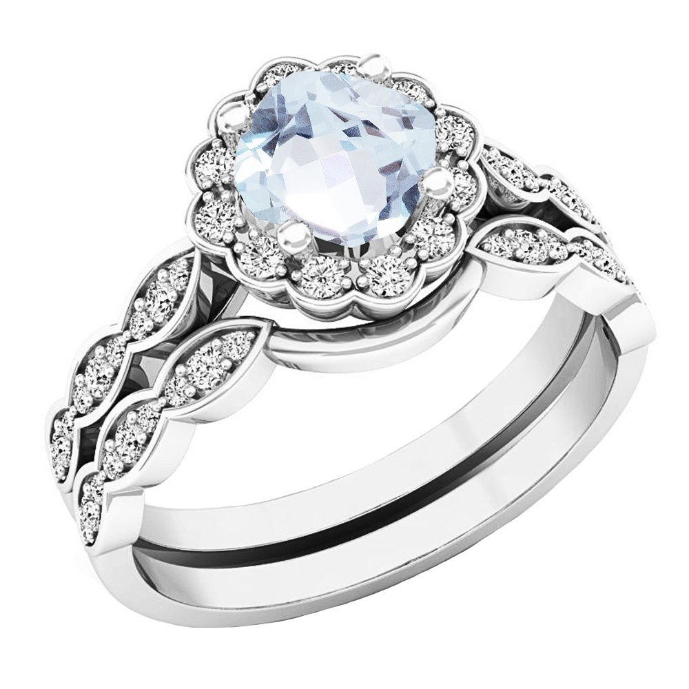 14K White Gold 5.5 MM Cushion Aquamarine & Round Diamond Ladies Halo Engagement Ring Set (Size 7)