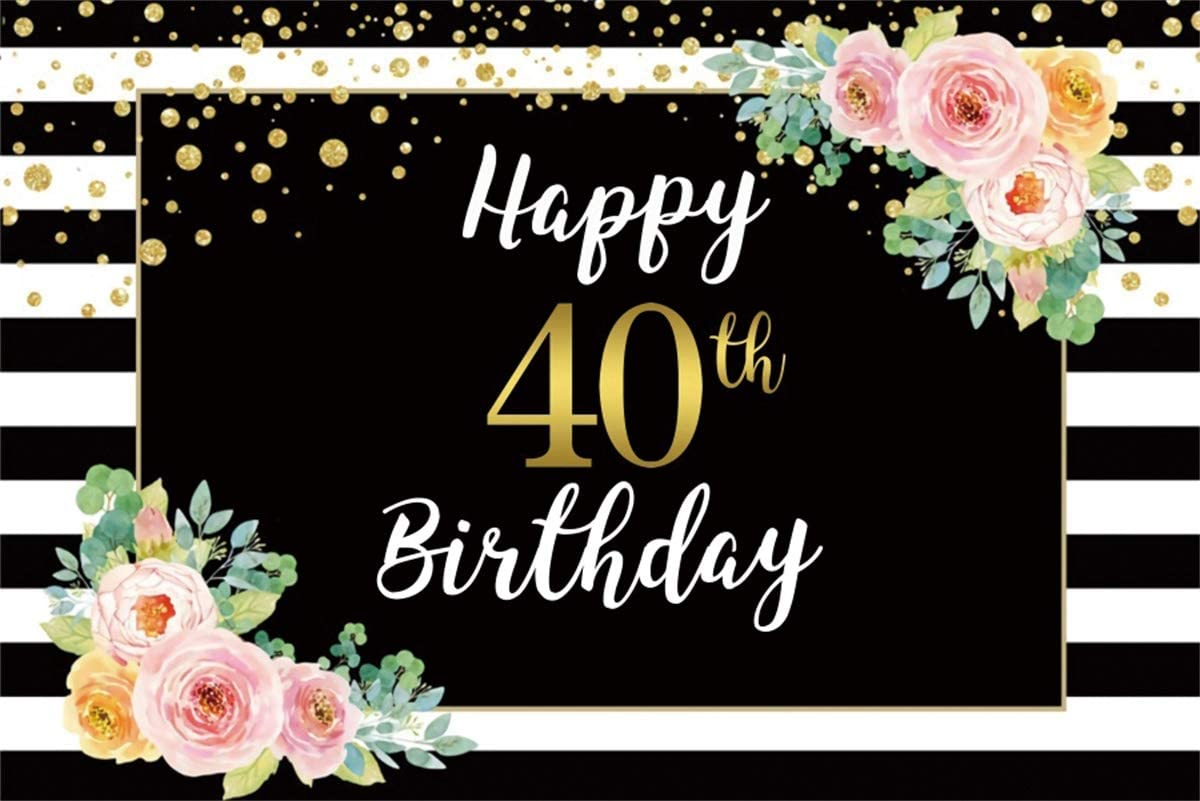 YEELE Happy 40th Birthday Backdrop Pink Rose Flower Black and White Stripes Photography Background 12x8ft Glitter Gold Dots Backdrop for Woman Girls Birthday Decorations Daughter Photo Booth Props